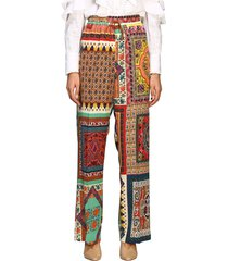 etro pants etro wide trousers in patchwork patterned silk