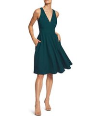 women's dress the population catalina fit & flare dress, size x-large - green