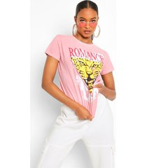 gebleekt 'romance' tijger t-shirt met tekst, terracotta
