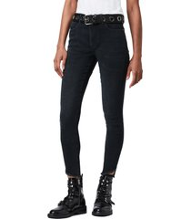 women's allsaints miller high waist skinny jeans, size 30 - black