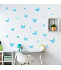 adesivo de parede borboletas azuis 25un cobre 1,5mâ² - azul - menina - dafiti
