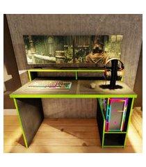 mesa gamer preto e verde 2 nichos lilies móveis