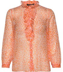 cade crinkle ruffle neck blse blus långärmad orange french connection