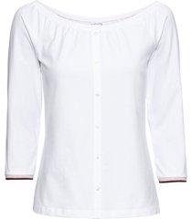 maglia con spalle scoperte e abbottonatura decorativa.  maniche a raglan 3/4 con bordini glitterati. lunghezza ca. 54 cm. (bianco) - rainbow