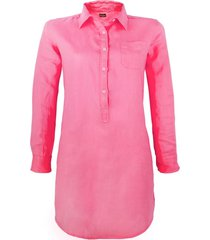 fucsia linen shirt dress