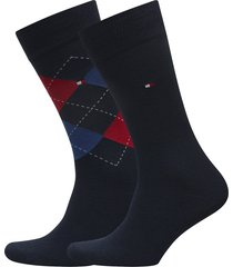 th men sock check 2p underwear socks regular socks blå tommy hilfiger