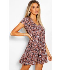 leopard print v neck shift dress, rose
