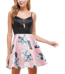 city studios juniors' cage-front floral-skirt dress