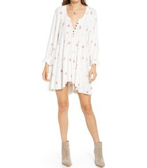 women's free people winter sun floral tunic, size x-large - white