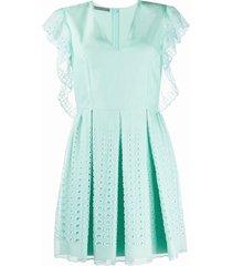 alberta ferretti embroidered shift dress - green