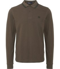 fred perry liquorice long sleeve twin tipped polo shirt m3636