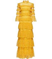 carmine maxi dress maxi dress galajurk geel by malina
