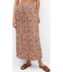 mango women's printed pleated skirt