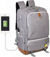 mochila hombre con puerto de carga usb para laptop de oxford - gris