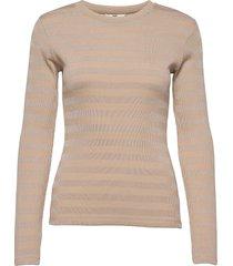 2x2 tonal stripe tuba t-shirts & tops long-sleeved beige mads nørgaard
