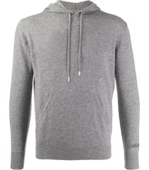 blended cashmere grey hooded sweater