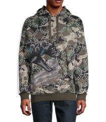 valentino garavani men's camo-print hoodie - army - size s