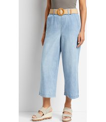 maurices womens one5one™ high rise light belted wide cropped jeans blue