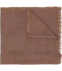 fabiana filippi sequin-trimmed scarf - brown