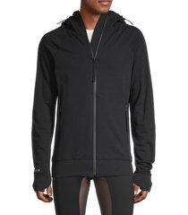 siki im men's cotton-blend zip-up hoodie - olive - size l