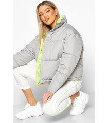 contrast lining puffer jacket, grey