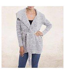 alpaca blend sweater jacket, 'saturday morning in grey' (peru)