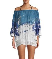 surf gypsy women's tie-dyed ruffled crochet-sleeve coverup - slate blue - size s