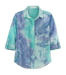 women's button up tie dye shirt