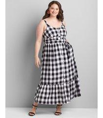 lane bryant women's gingham button-front midi dress 12 black/white