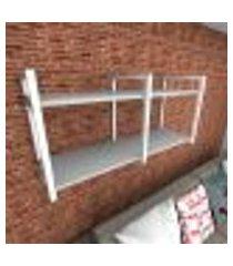 prateleira industrial para sala aço branco prateleiras 30 cm cinza modelo indb22csl
