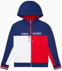 tommy hilfiger women's essential colorblock zip hoodie red/ white/ blue - xs