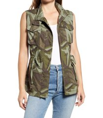 caslon(r) utility vest, size x-small in green- grey camo wave at nordstrom