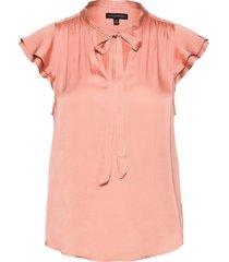 i ss flutter sleeve tie neck solids blouses short-sleeved rosa banana republic