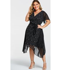 yoins plus size black double layer floral v-neck short sleeves dress
