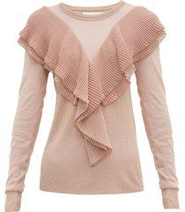ruffled scalloped edge lurex sweater