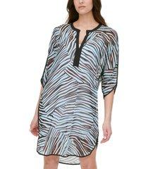 dkny animal-print split-neck dress
