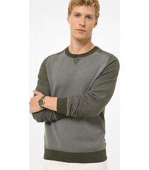 pullover in cotone color block con maniche raglan
