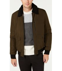 calvin klein men's military flight jacket with sherpa collar