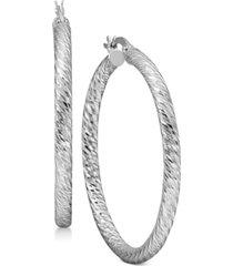 textured round hoop earrings in sterling silver