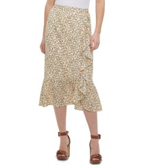 calvin klein floral-print ruffled skirt