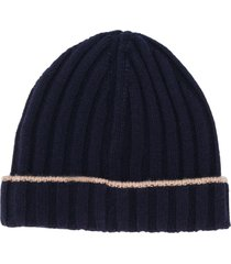 brunello cucinelli ribbed knit beanie - blue