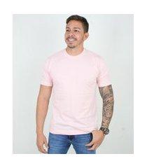 camiseta basica masculina gola careca lucas lunny lisa rosa