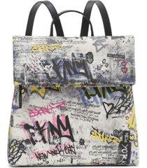 dkny tilly graffiti foldover backpack