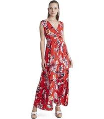 vestido largo escote v rojo curvi
