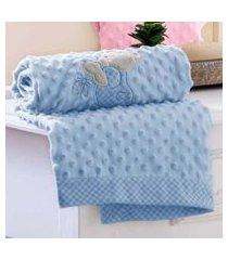 edredom bebê jolitex bordado ursinho azul em relevo