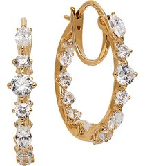 adriana orsini women's leilani 18k goldplated & cubic zirconia hoop earrings