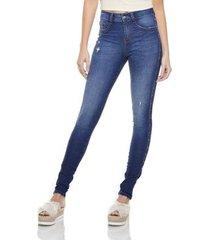 calça jeans denim zero skinny média com metais feminina