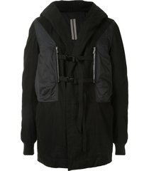 rick owens drkshdw buckle fastening layered coat - black