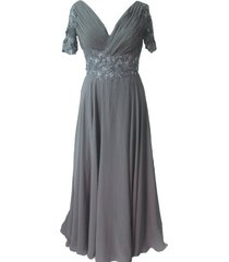 kivary women's sheer short sleeves grey mother evening dresses us 22w