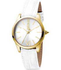 relaxed velvet goldtone stainless steel leather-strap watch